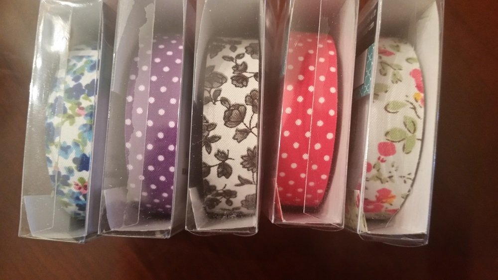 Fabric Washi Tape Decorative DIY Tape 1.5 X 500cm Assorted Set of 5 by Greenbrier (Image #1)