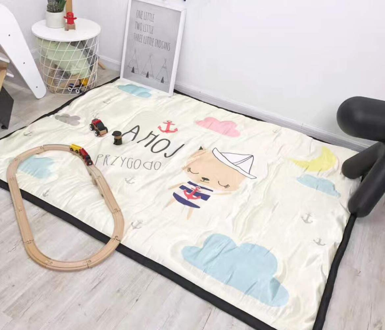 QXMEI Children Crawling Mats Cotton Ice Silk Simple Cartoon Carpet Game Pad