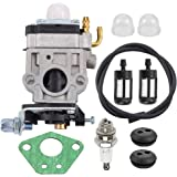 SQX Carburetor with Spark Plug Fuel Line Kit for Husqvarna 145BT Kawasaki TE45DX Walbro WYK-74 WYK-74-1