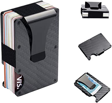 Card Holder Carbon Fiber Slim Bank ID Credit Cards Case Bag Wallet RFID Block