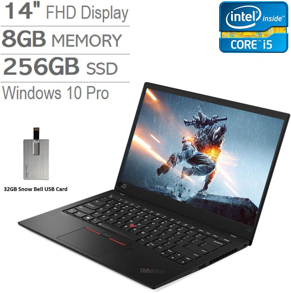 "2020 Lenovo ThinkPad X1 Carbon Gen 7, 14"" FHD Laptop Computer, Intel Core i5-10210U, 8GB RAM, 256GB PCIe SSD, Intel UHD Graphics, Backlit KBoard, HD Webcam, Win 10 Pro, Black, 32GB Snow Bell USB Card"
