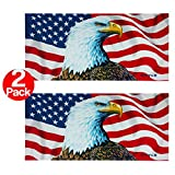 american flag towel Ben Kaufman - The Eagle Has Landed / American Flag - Extra LARGE Beach and Pool Towel