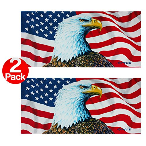 Ben Kaufman - The Eagle Has Landed / American Flag - Extra LARGE Beach and Pool Towel ()