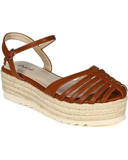 b6d46a471e1d Qupid Women Leatherette Strappy Caged Espadrille Ankle Strap Dorsay  Flatform Sandal CB38 - Cognac Leatherette