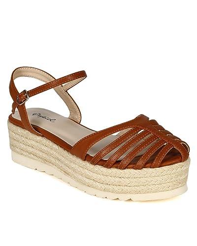 80db12e6df8b5 Qupid Women Leatherette Strappy Caged Espadrille Ankle Strap Dorsay  Flatform Sandal CB38 - Cognac Leatherette (