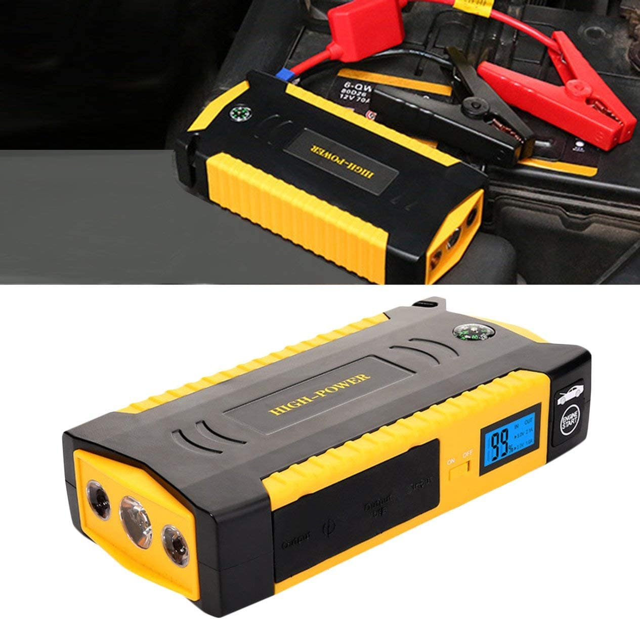 Multifunctional Jump Starter Car Battery Power Bank Emergency Auto Booster Pack Vehicle Jump Start 1800Mah Peak Current-yellow /& black BCVBFGCXVB
