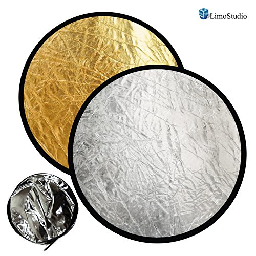 LimoStudio 2-in-1 24 Inch Photo Lighting Reflector, Collapsible Disc Reflector, Video Lighting Modifier Studio Photography Reflector Disc Panel, AGG1255 by LimoStudio