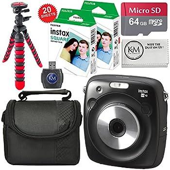 Fujifilm Instax SQUARE SQ10 Hybrid Instant Camera + 64GB Micro SD + Accessory Bundle + Instax Square Film (20 Sheets)