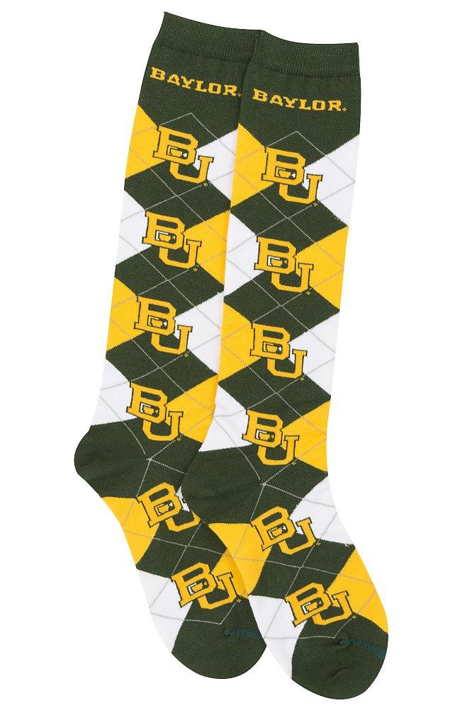 For Bare Feet NCAA Repeat Logo Argyle Knee High Socks-Medium-Baylor Bears