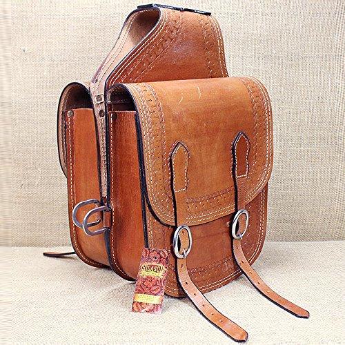 Horse Saddlebags Leather (HILASON BG107F WESTERN LEATHER COWBOY TRAIL RIDE HORSE SADDLE BAG CHESTNUT)
