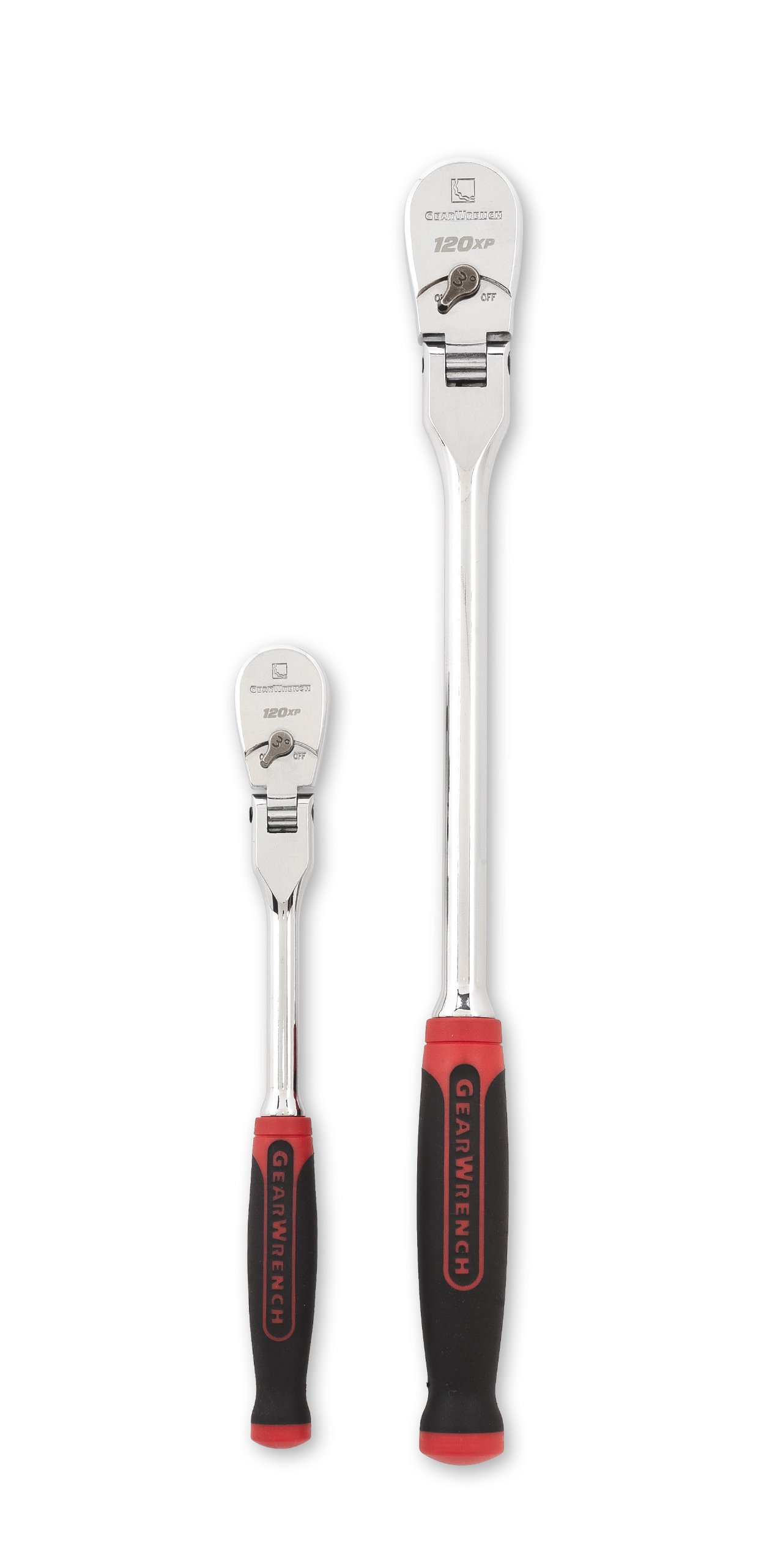 GEARWRENCH 2 Pc. 1/4'' & 3/8'' Drive 120XP Dual Material Flex Head Teardrop Ratchet Set - 81204P by GearWrench