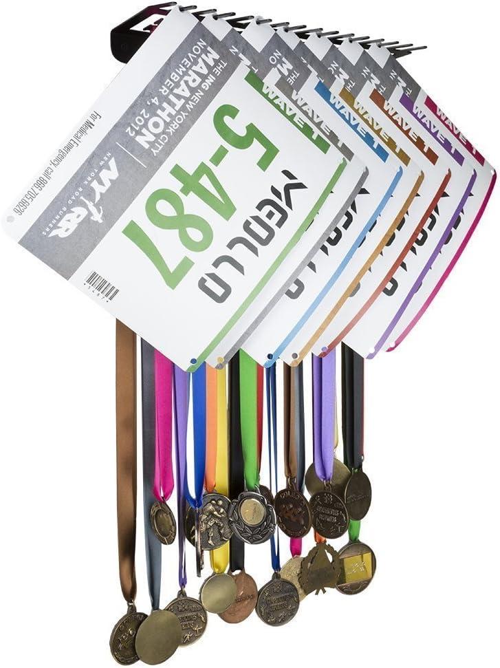 MEOLLO Medallero Colgador de medallas y dorsales (100% Acero) - Fabricado en España (Negro): Amazon.es: Deportes y aire libre