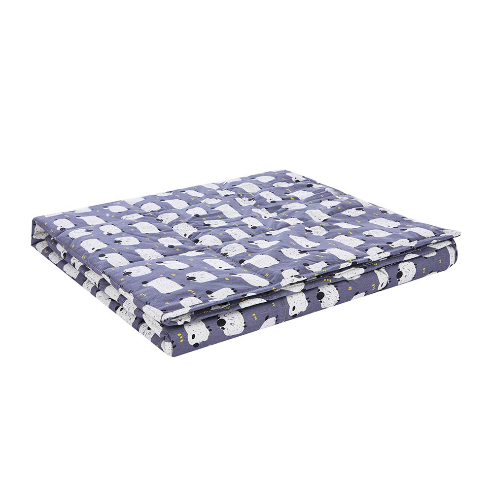 ZonLi Weighted Blanket(7 lbs for Kids, 41''x60''), Sheep Printed, Cool Weighted Blanket for Summer, 100% Cotton Material with Glass Beads