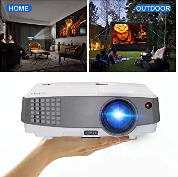 HD LCD TV Projector Portable Multimedia Home Video Projectors Support 1080P 720P, 2600 Lumens LED Proyector HDMI VGA Headphone USB Slots for Gaming ...