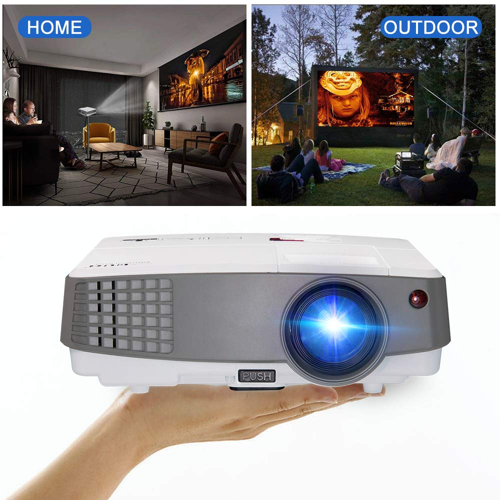 LCD Mini Projector with Bluetooth WiFi HD Smart TV Video Projecteur Android OS Support 720P 1080P Apps 1500 Lumen LED Home Cinema Projector with HDMI USB VGA Audio Built-in Speaker EUG