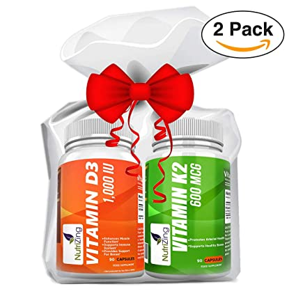 NutriZing - Vitamina K2 MK7 (600 mcg) y Vitamina D3 (1000 iU)