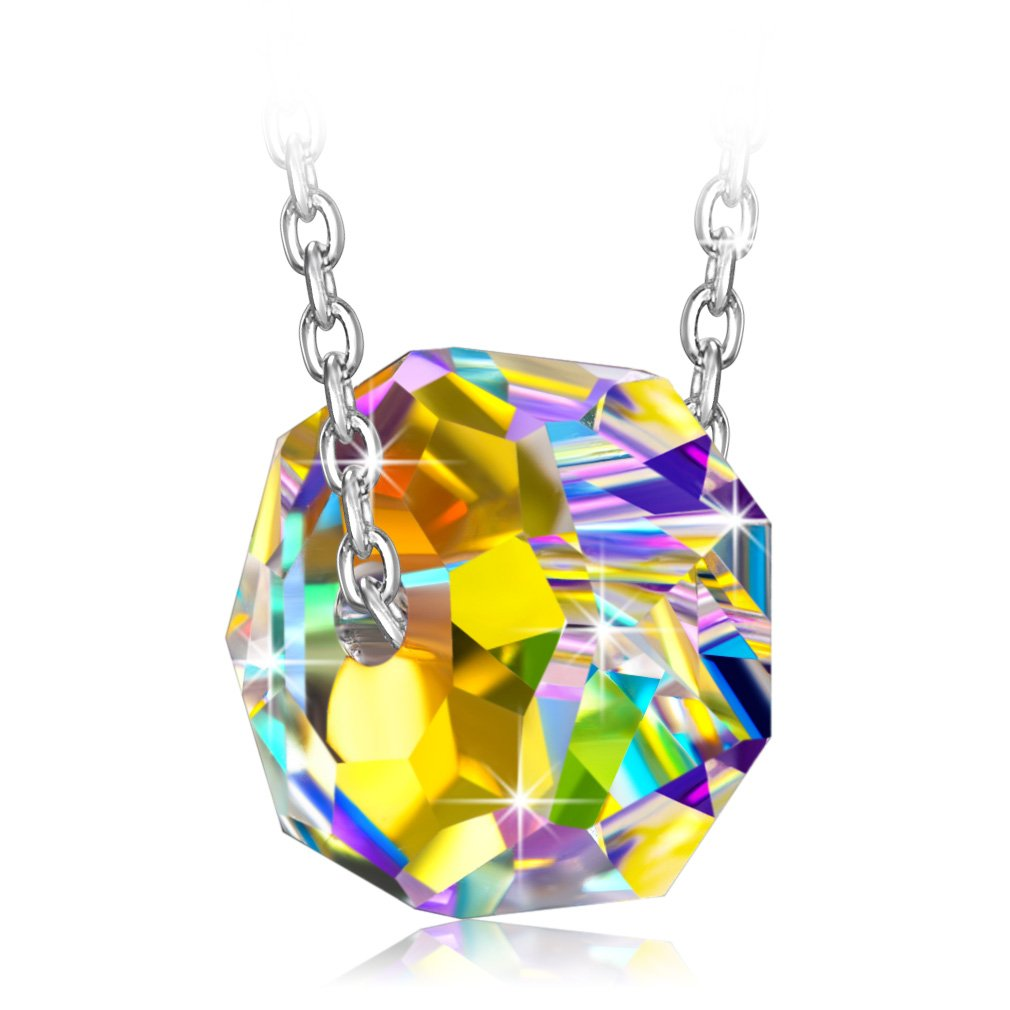 PN PRINCESS NINA ❤️ Colorful Stone ❤️ Necklaces for Women Womens 925 Sterling Silver Swarovski Crystals Pendant Necklace Length 17.5 Extender 2 with Gift Box