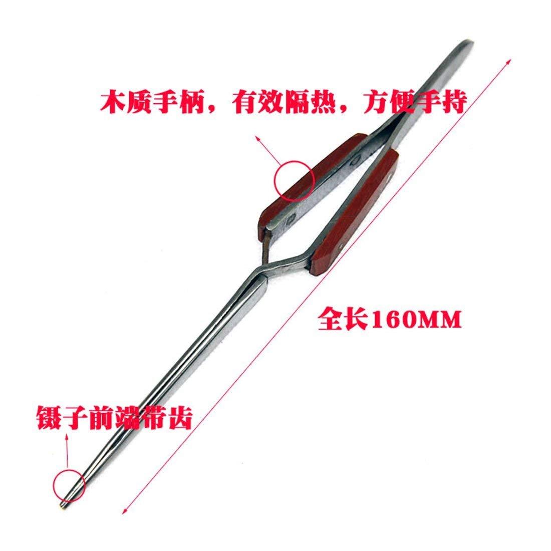 Pro'sKit 1PK-118T Heavy Duty Tweezer (165mm) Wooden Handle Stainless Steel Fine-tipped Forceps Rebound