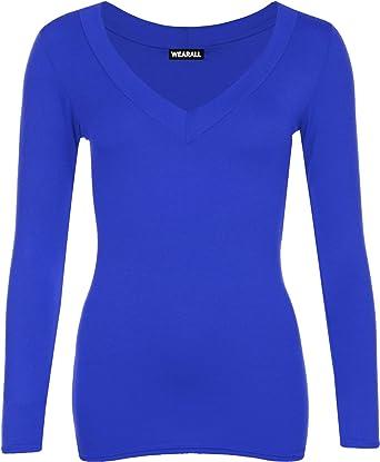 298b5937288f New Ladies V Neck Long Sleeve Stretch Top Plus Size Womens Plain T-Shirt  Royal