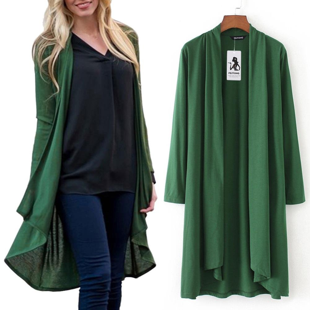 Pervobs Blouses, Big Promotion! Womens Solid Print Long Sleeve Cover up Kimono Cardigan Top Shawl Blouse Beachwear (3XL, Green)