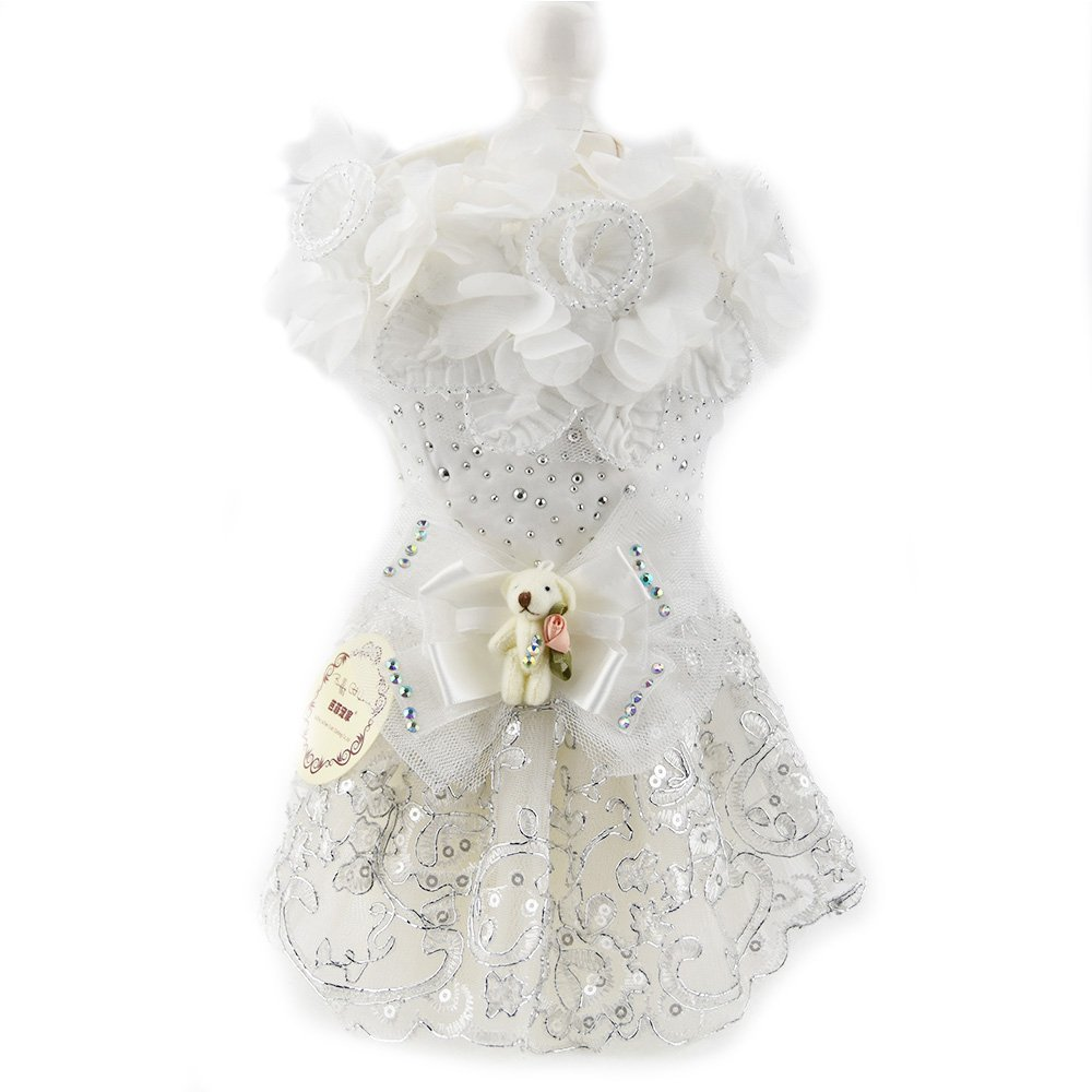 Amazon.com : Dog Luxury Bow Dress White Lace Bear Pet Cat Dog Tutu Skirt Princess Wedding Dress Dog Chihuahua Clothes Shirt Bride Costume(L, ...