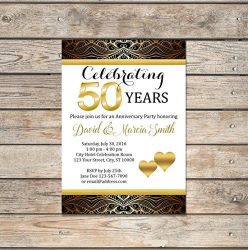 amazon com 50th wedding anniversary invitation black and gold 50th