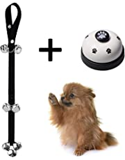 Pejoye Adjustable Dog Door Bell and Press Bell for Various Size Dog Toilet Training Bell Interaction Bell Cat Bell Nylon and Steel Material for Housing and Outdoor Training (Bells Only)