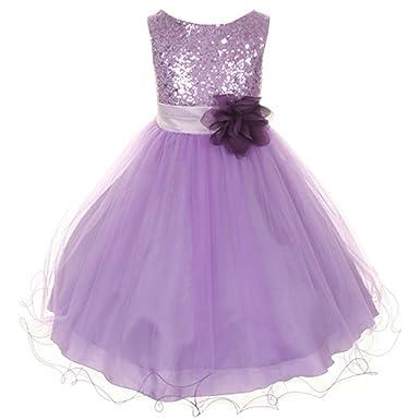 Amazon.com: Flower Girls Big Girls\' Dress Sequin Glitter Beaded ...