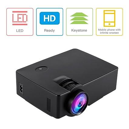Proyector 800 x 480 hasta 1080P Multifuncional ICOCO, Videoproyector con interfaz de entrada HDMI VGA TV AV USB conectable con TV Laptop PC PS2/3 XBOX ...