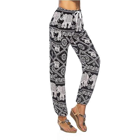 Luckycat Mujer Pantalones Harem Boho del Lazo del Elefante ...