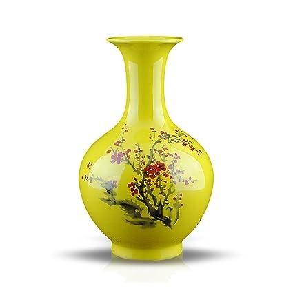 NAUY Jingdezhen porcelana cerámica vidriada florero rojo ciruela amarilla Botella moderna sala de estar decorada sala