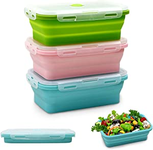 Silicone Food Storage Containers with Lids - 3 Pack Set 24oz/800ml Collapsible Meal Prep Lunch Containers - Microwave, Freezer and Dishwasher Safe