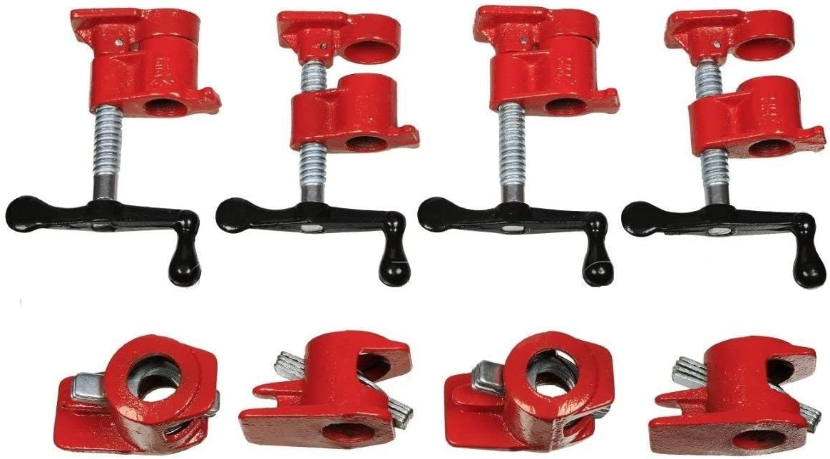 """GOOD CHOICE 3/4"""" Wood Gluing Pipe Clamp Set 4 Pack Woodworking Cast Iron"""