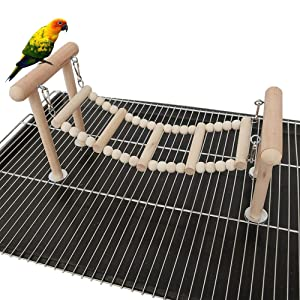 kathson Bird Perches Stand Toy, Parrot Swing Climbing Ladder Toys, Birdcage Top Play Gyms Playground Stands Wooden Perch for Parakeet, Cockatiel, Lovebirds, Conure and Finches