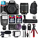Holiday Saving Bundle for D3300 DSLR Camera + AF-P 18-55mm + Battery Grip + Shotgun Microphone + LED Kit + 2yr Extended Warranty + 32GB Class 10 Memory Card + Backpack + 16GB - International Version