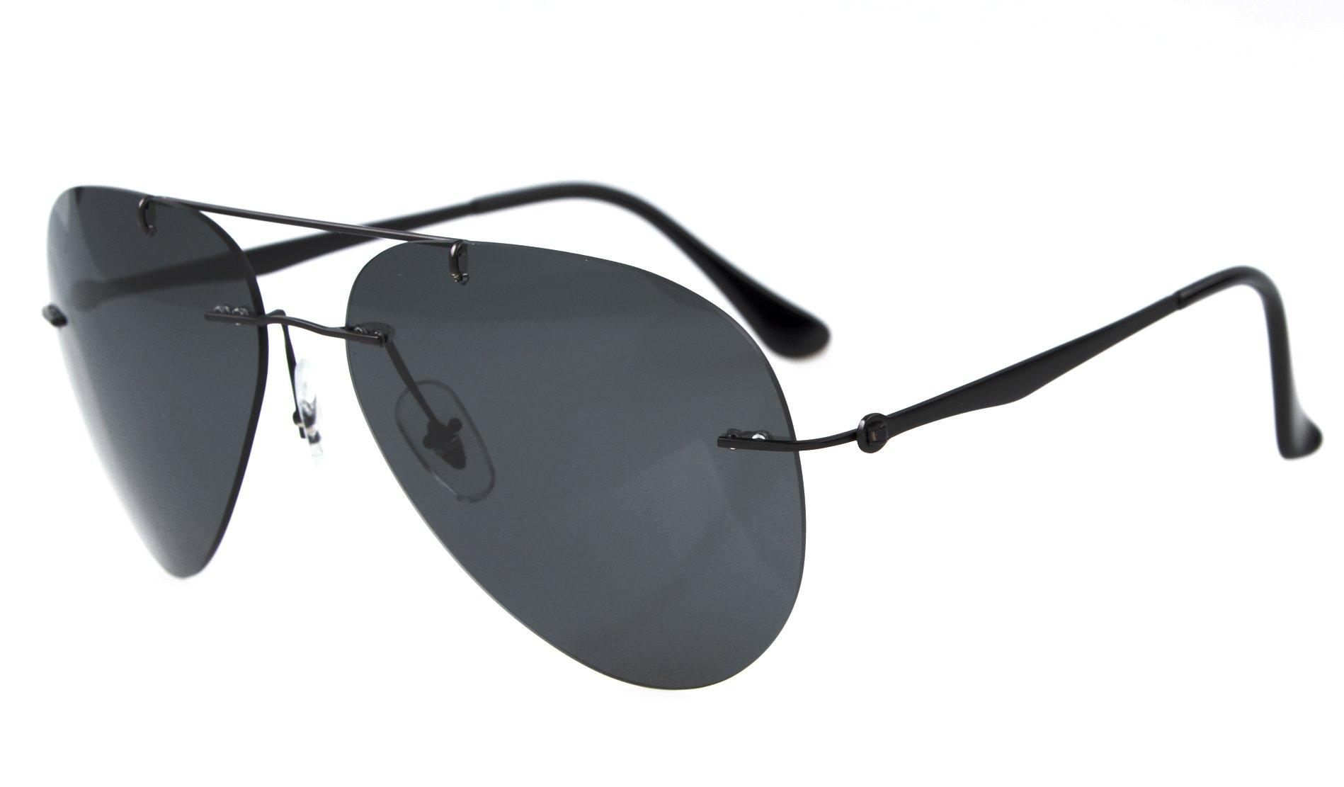 Eyekepper Titanium Style Rimless Polarized Sunglasses Grey Lens