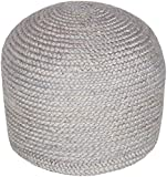 Surya TPPF-004 100-Percent Jute Pouf, 20-Inch by 20-Inch by 14-Inch, Gray