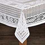 Lintex Linens Chantilly Crochet Cotton Tablecloth Imported from Spain White Rectangle