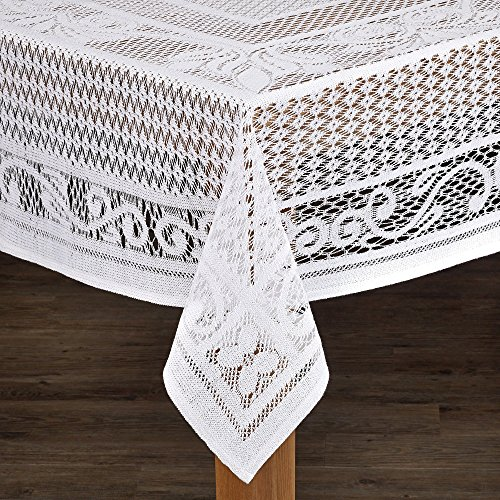 Lintex Linens Chantilly Crochet Cotton Tablecloth Imported from Spain White Rectangle by Lintex Linens