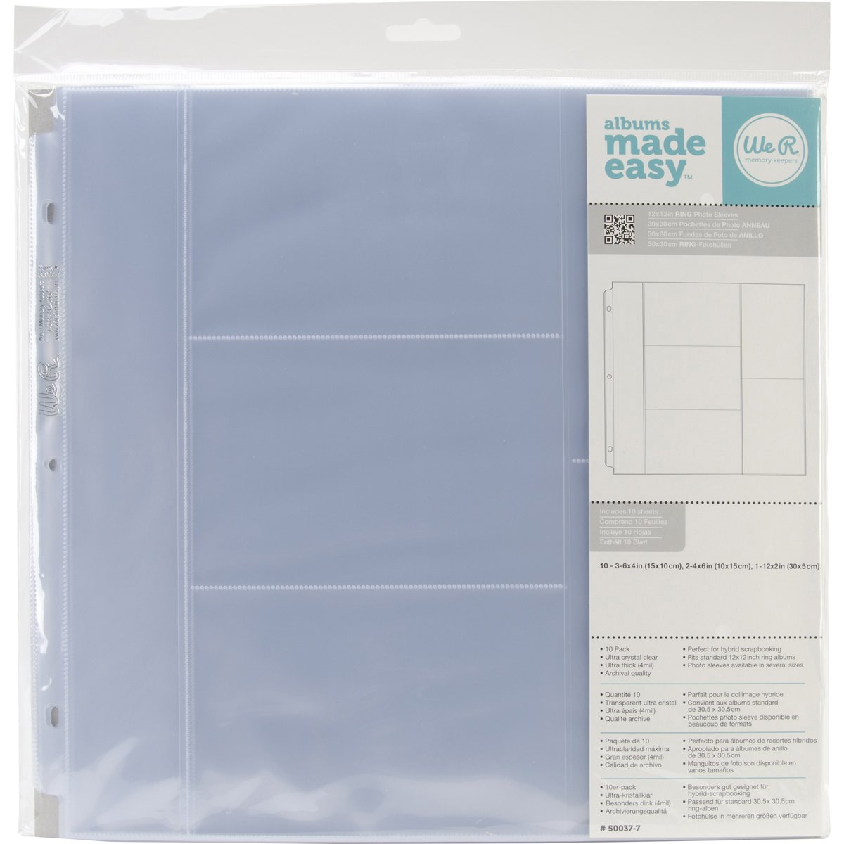 WR660139 We R Ring Photo Sleeves 12''X12'' 10/Pkg-(3) 4''X6'' & (2) 6''X4'' Pockets by We R Memory Keepers
