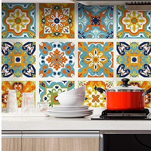 Haokhome 96006 1 Morocco Tiles Peel And Stick Wallpaper Removable Orange Blue White Kitchen Backsplash Bathroom 17 7in X 9 8ft Contactpaper Amazon Com