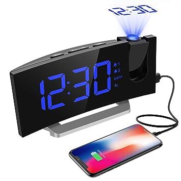 Radio Despertador Digital Proyector, Mpow FM Radio Reloj Despertadores Digitales de Proyección, Alarma Dual con 4 Sonidos 3 Tonos, Puerto USB, ...
