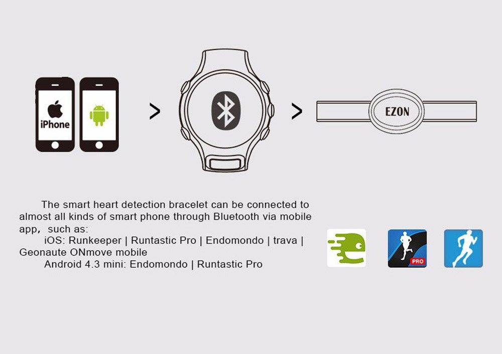 likeblue Monitor de frecuencia cardiaca Bluetooth 4.0 Correa de ...
