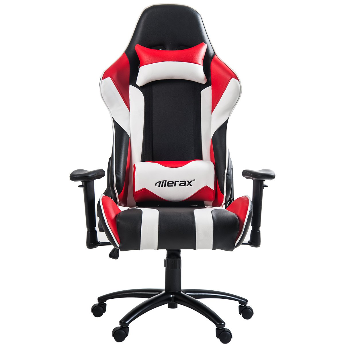 Merax High Back Racing Style Gaming Chair Metal Frame with Lumbar Support and Headrest (Red)