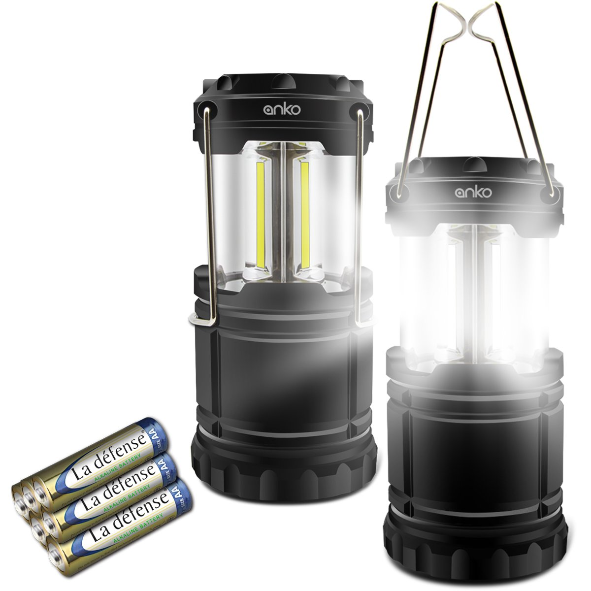 LED Camping Lantern, ANKO 350 Lumen COB Camping Equipment Gear Lights for Hiking, Emergencies, Hurricanes, Outages, Storms, Camping. (BLACK-2 PACK)