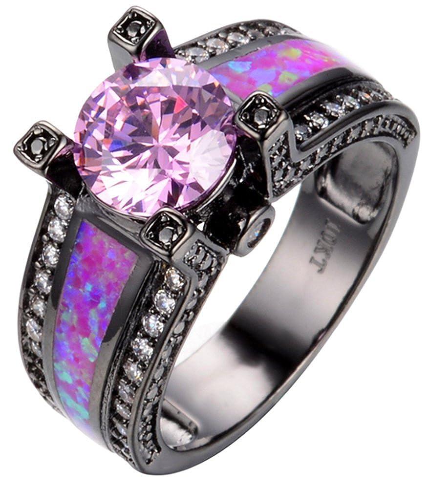 AmaranTeen 10KT Black Gold Filled Pink Anniversary Wedding /& Engagement Ring