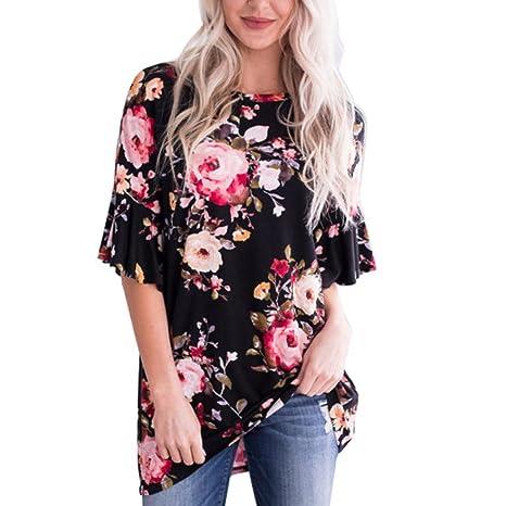 Homebaby® T Shirt Donna Vintage Taglie Forti -Stampato Floreale Maglietta Donna Manica Corta Elegante - Sciolto Top Tumblr Estiva Particolari Magliette Corte Ragazza Tumblr T-Shirt Donna
