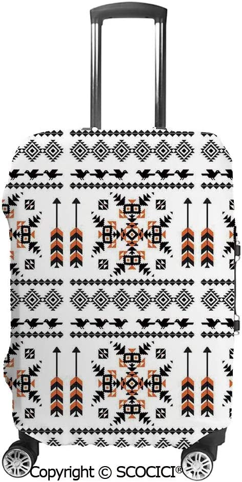 SCOCICI Luggage Bag Cover Ethnic Pattern Composition With Birds and Arrows Elastic Suitcase Protective Cover Travel Luggage Case Cover