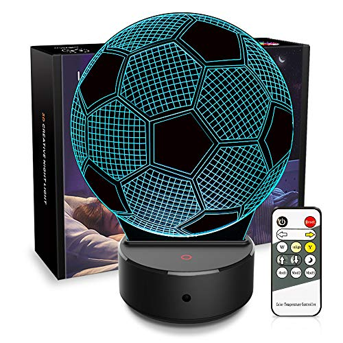 3D Lamp Soccer Gifts 3D Night Light Illusion Ball Lamp 7 Colors Changing with Remote Best Birthday Christmas Gifts Toys for Girls Boys Kids