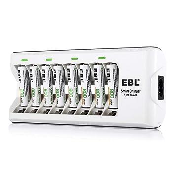 EBL 808A 8 Bay AA AAA Cargador de Batería con 8 Piezas de AAA 800mAh Ni-MH Pilas Recargables